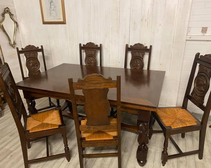 French Breton Extending Dining Table and Chairs
