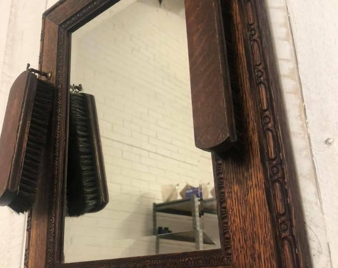 Rare Antique Wall Mirror and Vanity Brush Set