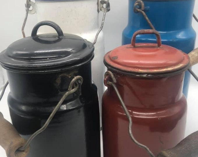 Set of Four Vintage Polish Enamel Churns