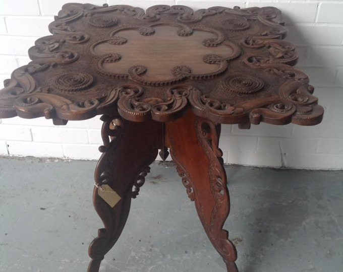 Stunning Carved Indonesian Hardwood Table Side Table