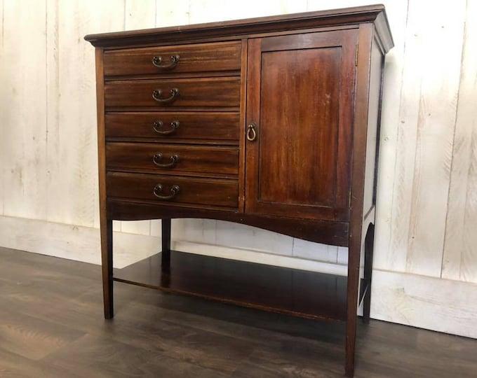 Edwardian Antique Music Cabinet