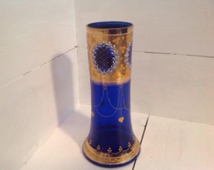 Pretty Bohemian Czech Cobalt Blue Gilt and Enamel vase