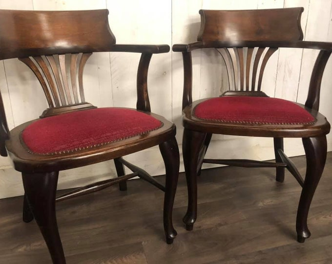 Pair of Edwardian Captains Chairs Desk Chairs