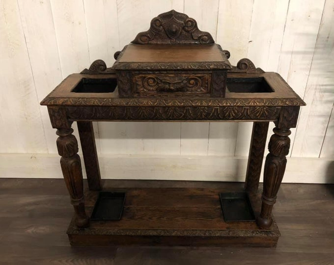Jacobean Revival Victorian Stick Stand Hall Stand