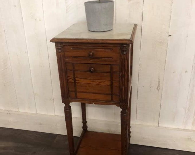 French Marble Top Pot Cupboard Plant Stand