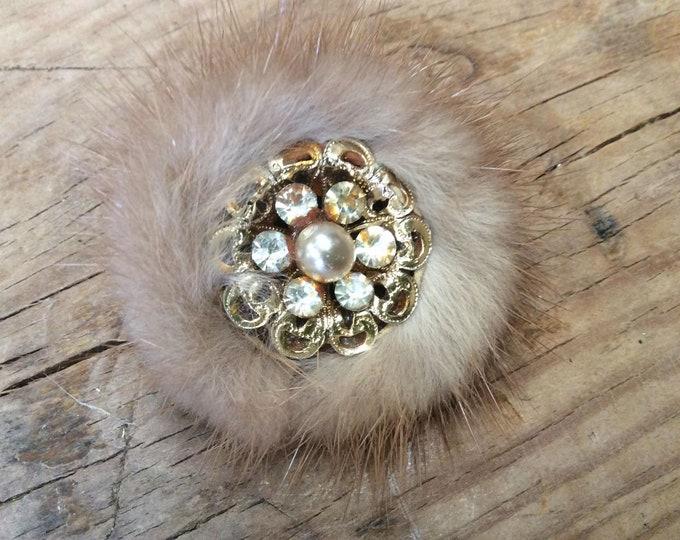 Vintage Faux Fur Brooch- J044