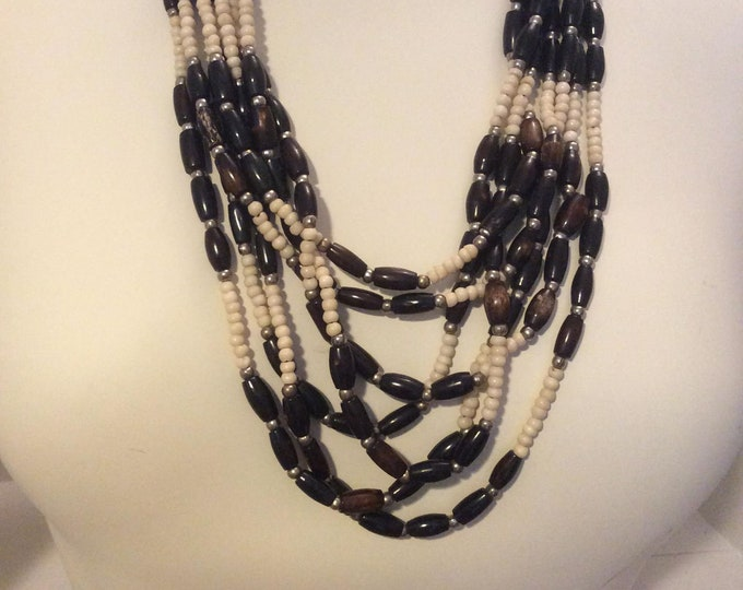 Vintage Costume Necklace Graduated Fall Beads- J038