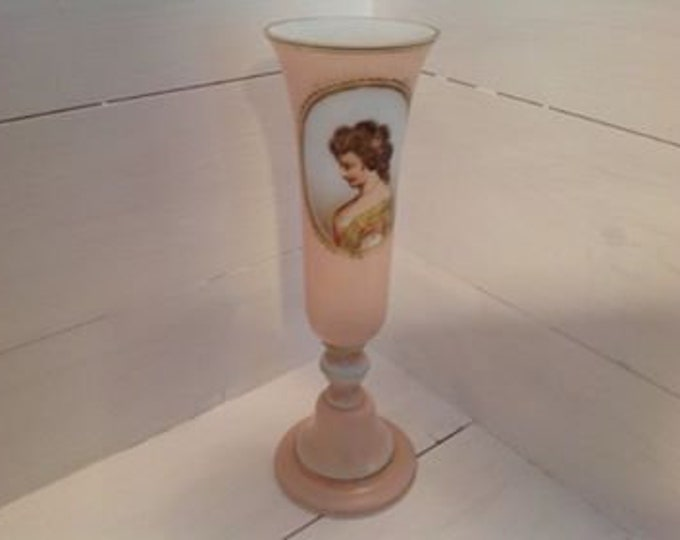 C1900 Hand Painted Portrait Glass Vase Art Glass