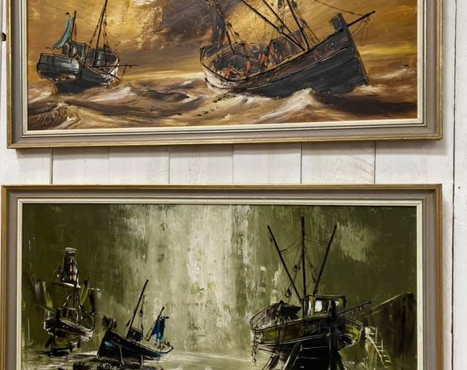 Set of 2 Oil on Board Ship Paintings by Hawkes
