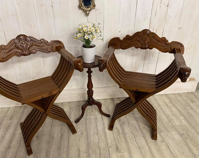 Pair of X Frame Folding Savonarola Chairs