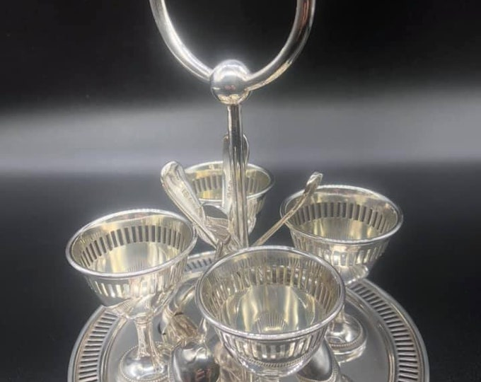 Antique Edwardian Silver Platted Egg Cruet Set