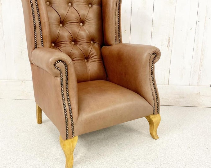 Small Handmade Leather Chesterfield Style Armchair