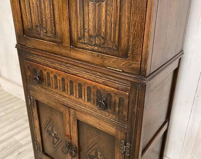 Vintage Oak Cocktail Cabinet