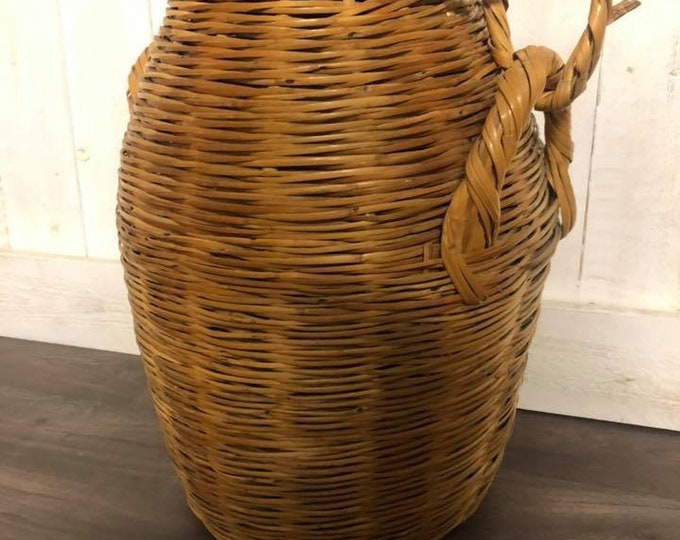 Large Cypriot Wicker Linen Basket