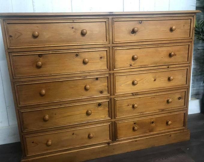 Vintage Large Pine Bank of Drawers