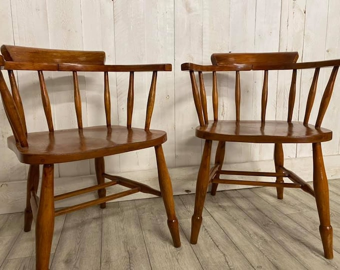 Pair of Beech Captains Chairs