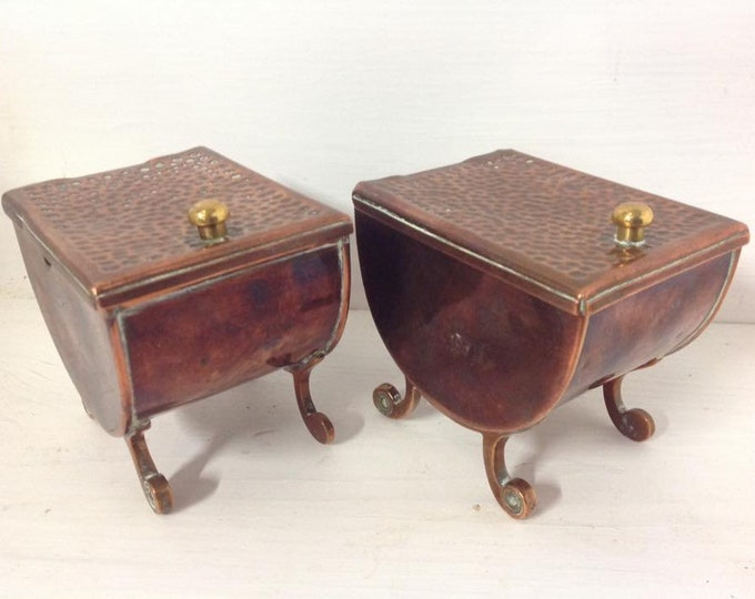 Pair of Arts and Crafts J P Picard Copper Tea Caddies