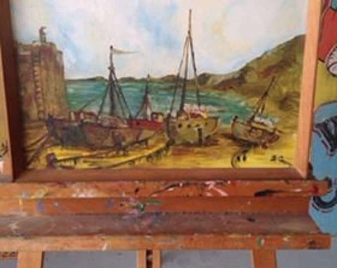 Fishing Boat Picture Signed by Artist B Gregory