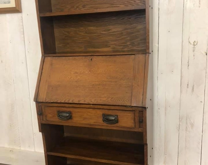 Stunning Arts and Crafts Oak Bureau Bookcase