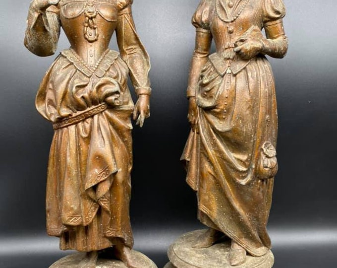 Pair of Victorian Spelter Figures