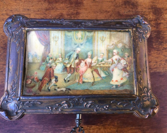 Antique Bronzed Table Casket Jewellery Box with Key Country house Item