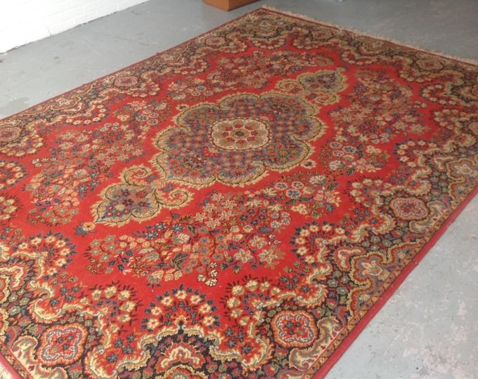 Extra Large Oriental Rug Crimson on a Red Background 326 x 240