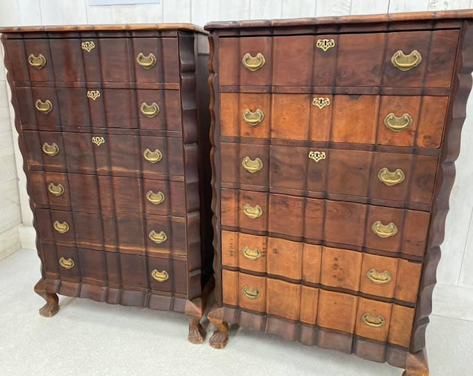 Pair of Large Dutch Antique Chest Bank of Drawers