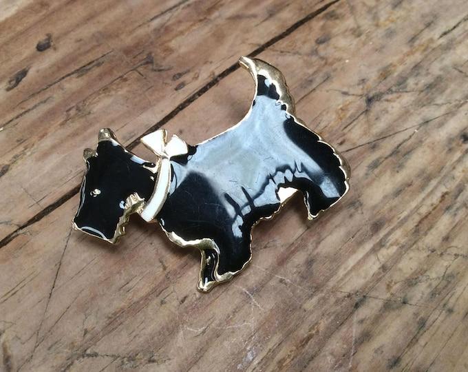 Black Scottie Dog Vintage Brooch- J043