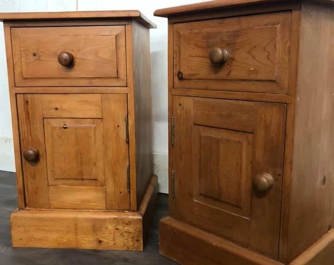 Pair of Chunky Pine Bedside Cabinets Pot Cupboards