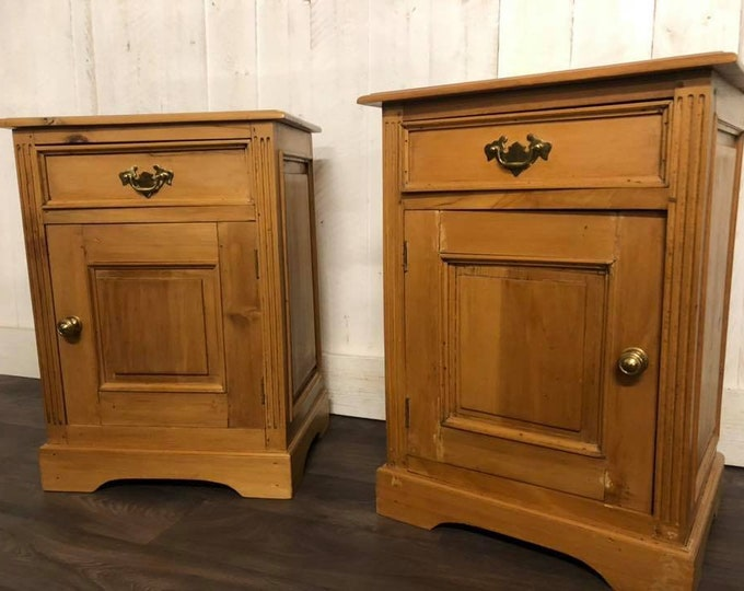 Pair of Chunky Pot Cupboards Bedside Tables