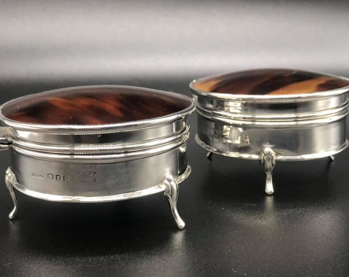 Pair of Asprey Solid Silver and Tortoiseshell Trinket Boxes