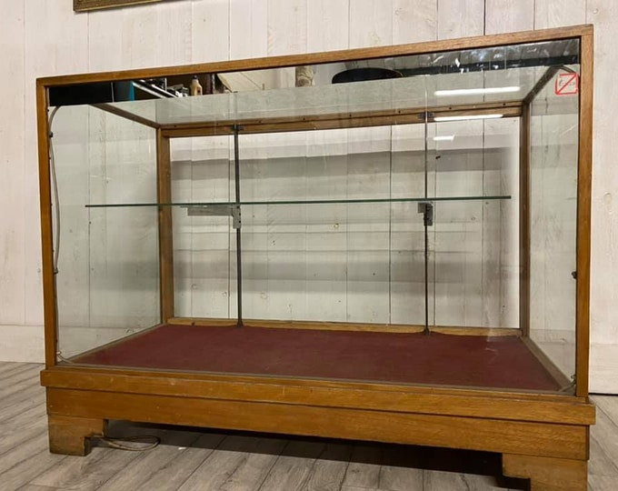 Mid Century Oak Shop Display Cabinet