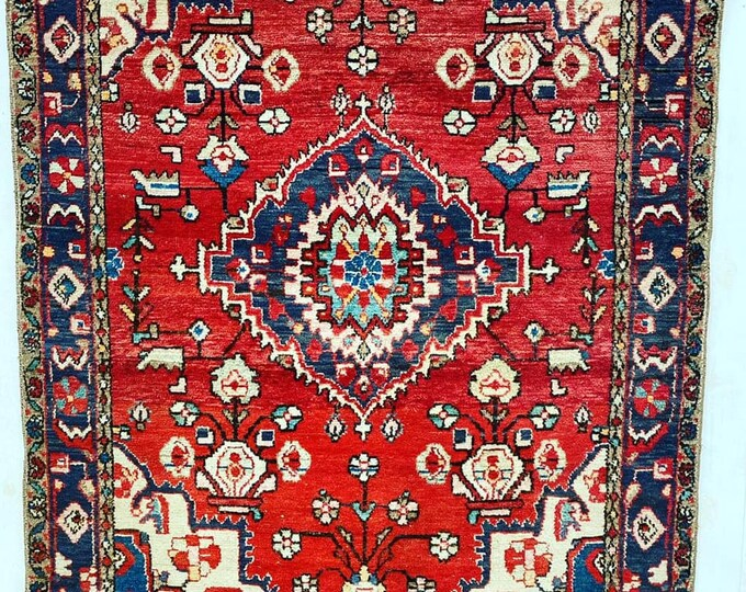 Large Vintage Rug Reds and Blues