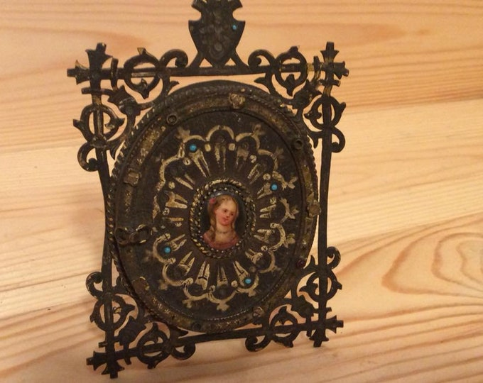 Antique C1800 Jewelled and Brass Oval Photo Picture Frame