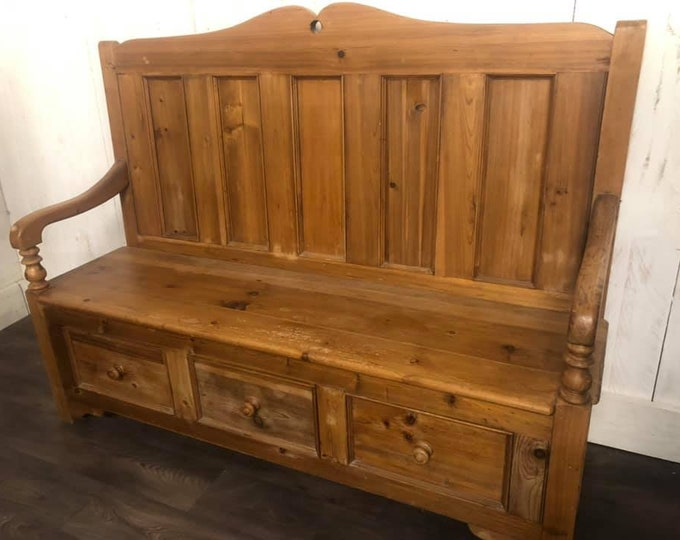 Vintage Large Chunky Pine Settle Hall Bench