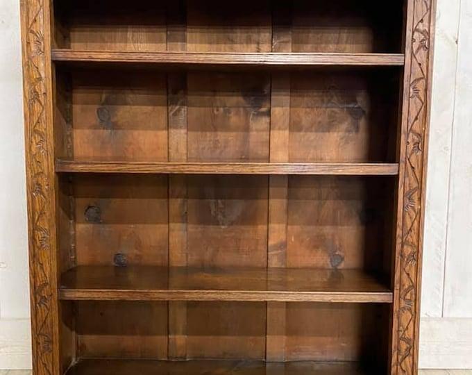 Carved Oak Open Bookcase