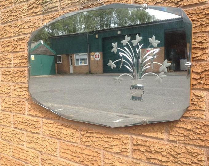 Lovely Art Deco Etched Wall Mirror