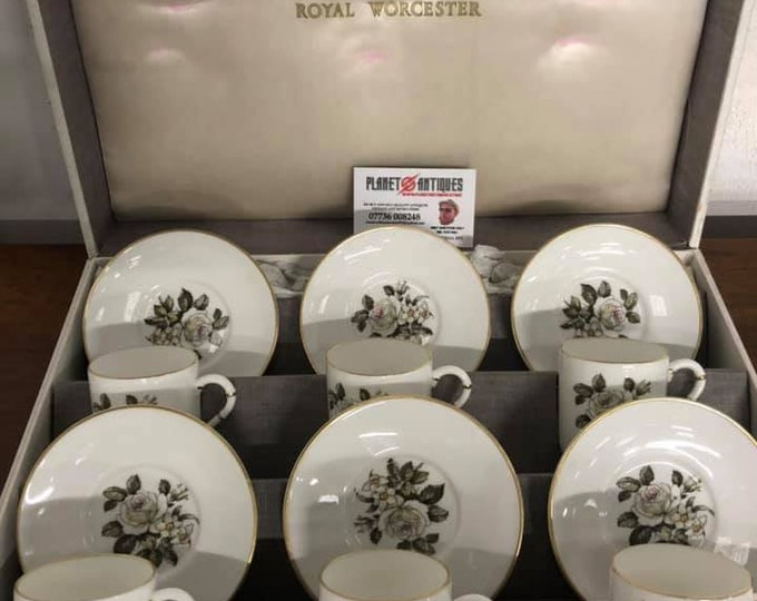 Royal Worcester Melissa Coffee Can Cup and Saucer Boxed Original
