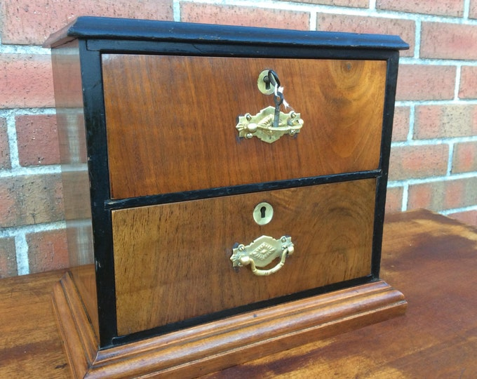 Cigar Cabinet Smokers Cabinet Humidor 2 Drawer Lockable Table Top Piece