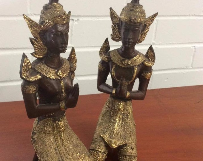 Pair of Bronzed Siamese Figures