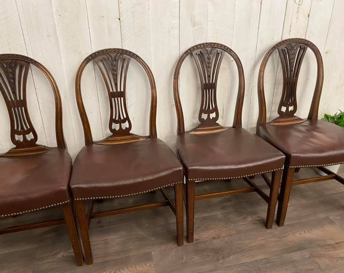 Hepplewhite Revival Set of 4 Dining Chairs
