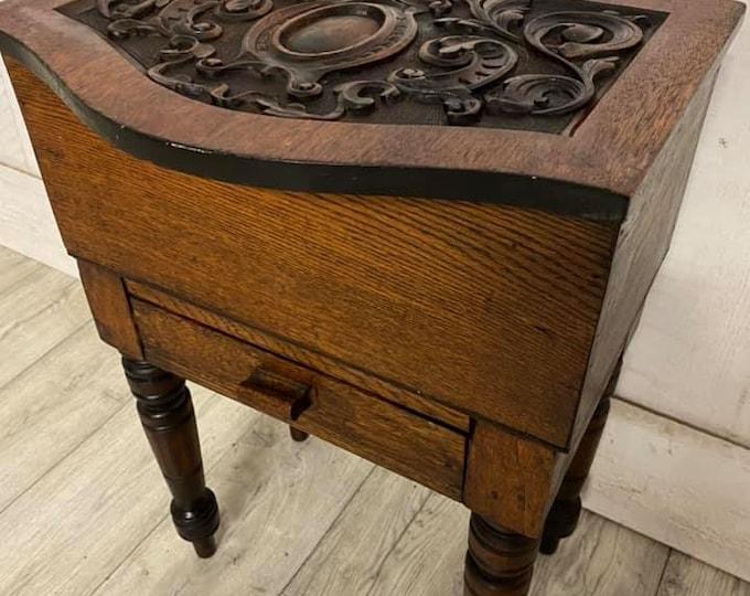 Oak Carved Sewing Box