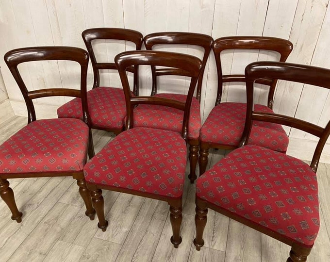 Set of 6 Victorian Balloon Back Dining Chairs