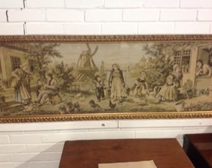Extra Large Woven Panel / Tapestry Depicting 18th Century Dutch Scene