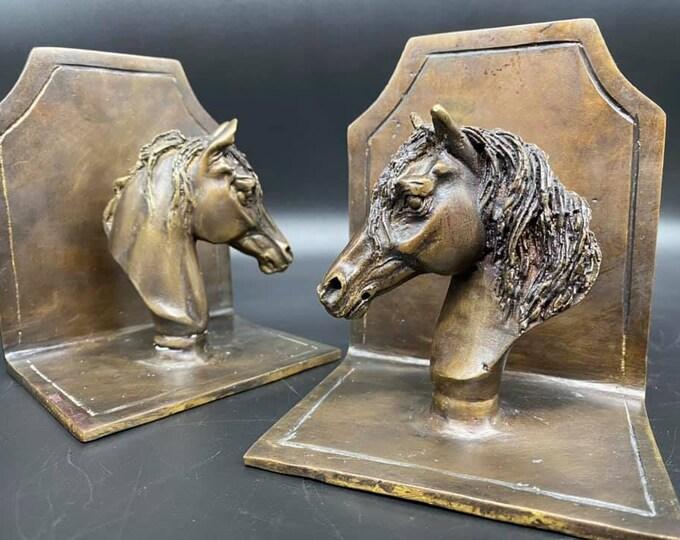 Pair of Antique Bronze Horse Bookends