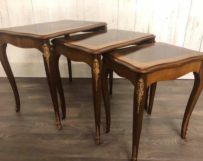 French inlaid Nest of Three Tables