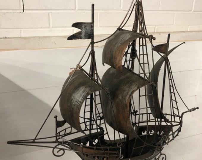 Large Metal Mid Century Ship Boat Model Ornament Man Cave Display Item