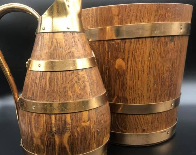 French Oak Coopered Bucket and Jug