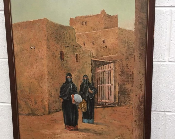 Large Oil Painting of Figures in an Arabic town Burkha Ladies Signed Young