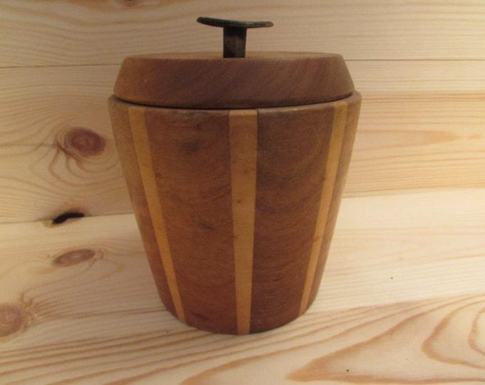 Stunning Treen Wooden Lidded Storage Jar Tea Caddy